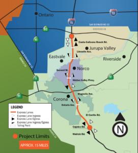 Widening of I-15 Corona CA Map