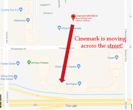 Cinemark Theaters Moving Across the Street Chino CA