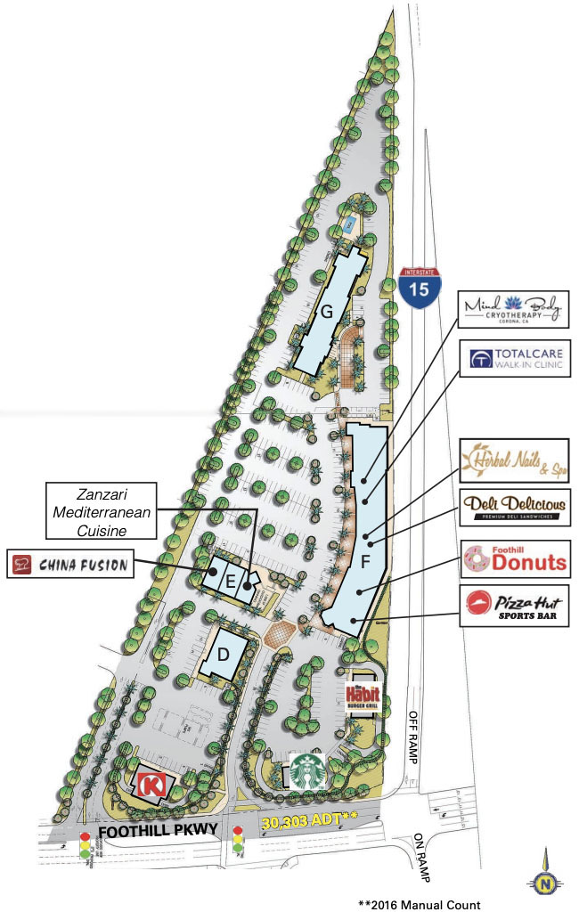 Foothill Plaza Corona 2019 Site Map