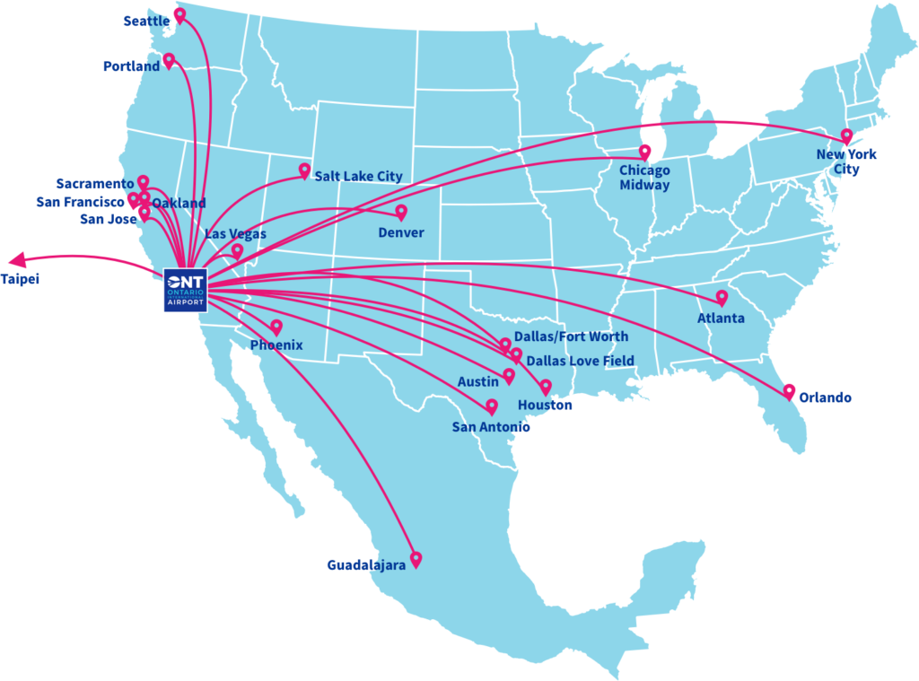 Ontario International  Airport Direct Flight Map 2019